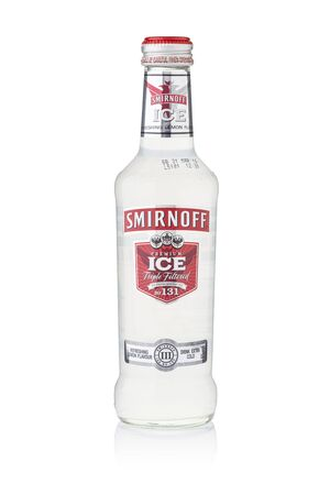 excise: BANGKOK, THAILAND - Sep 15, 2015 : A single bottle of Smirnoff Premium Ice No.131. Established around 1860 in Moscow by Pyotr Arsenievich Smirnoff and is now owned and produced by Diageo from UK. Editorial