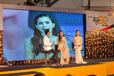 ambassador: BANGKOK, THAILAND -  SEPTEMBER 26, 2015: Grandopening event for Phyto SC by Kundson Innotech Company with a new Brand Ambassador Praya Lundberg - a Healthy, Sexy and Sweet Thai Actress.  The event took place at Central World, Thailand.