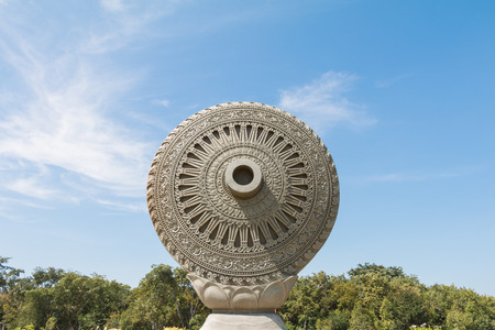 dhamma: Wheel of Dhamma or Wheel of Law in Ayutthaya, Thailand.