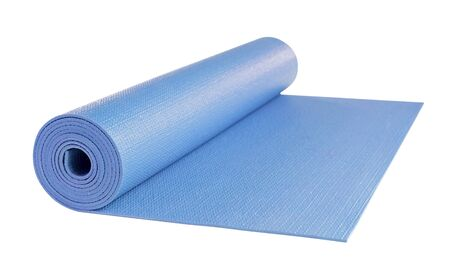includes: Yoga mat isolated on white background, includes clipping path.
