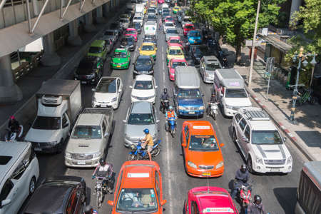 working hour: Bangkok, Thailand - December 21, 2015: Traffic jam sathorn junction in the morning as working hour, sathorn business district is the center of bangkok. Editorial