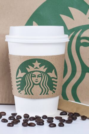 17 20: Bangkok, Thailand - October 17, 2015: Starbucks logo on sleeve. Starbucks is the worlds largest coffee house with over 20,000 stores in 61 countries.