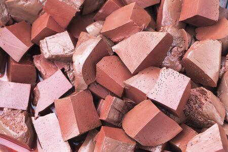 congealed pork blood cut blocks Stock Photo