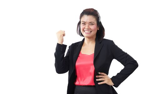 fist pump: Successful executive very excited, happy smiling business woman. Asia business woman person expression YES Fist Pump isolated on white background. Stock Photo