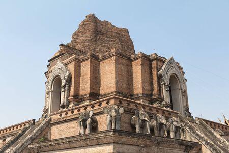 Ancient Pagoda build from brick at Wat Chedi Luang. Old temple in Chang-mai, Thailand