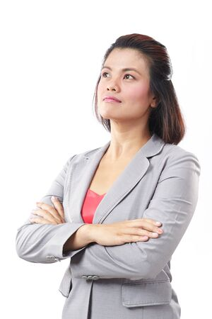 Portrait of a Asia business woman thinking on isolated white background