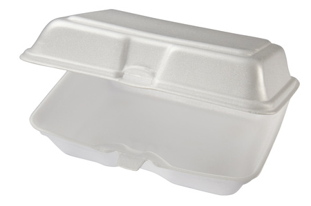 Empty styrofoam box isolated on white background, includes clipping path. Stock Photo