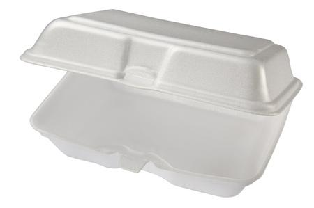 Empty styrofoam box isolated on white background, includes clipping path. Archivio Fotografico