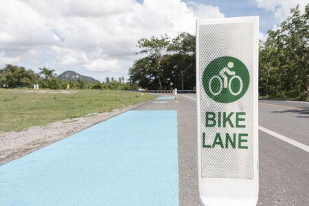 Road with bike lane in Pattaya, Chonburi, Thailand. Stock Photo