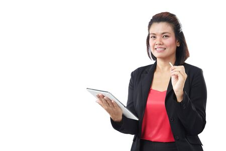 Asia beautiful modern businesswoman holding tablet and looking at camera, isolate on white background.