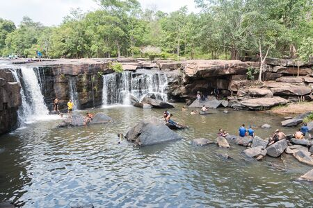 miracle leaf: Chaiyaphum, Thailand - May 05, 2016: Tatton waterfall in Tatton National park, The waterfall is popular with tourists and locals Chaiyaphum . Editorial