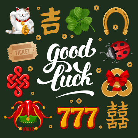 Set of Lucky Charms, Symbols and Talismans. Calligraphy Lettering Inscription Good Luck. Vector Illustration.