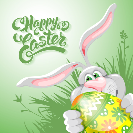 easter eggs: Cartoon bunny holding painted Easter egg. Calligraphic lettering text -  wishes you a Happy Easter. Corner composition. Vector illustration.