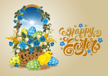 Easter Greeting Card with Wicker Basket full of Painted Easter Eggs, Chick and Spring Flowers on Beige Background. Calligraphic inscription Happy Easter. Vector Illustration.
