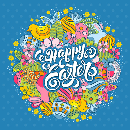 blue flower: Easter Festive Doodle Card with Hand Drawn Elements of Spring Holidays and Calligraphic Lettering Inscription Happy Easter on Blue Polka Dots Background. Vector Illustration. Illustration