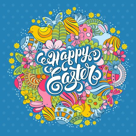 patrones de flores: Tarjeta del Doodle de fiesta de Pascua con la mano Elementos de primavera Vacaciones y caligr�fico letras Inscripci�n feliz Pascua en azul de lunares fondo dibujado. Ilustraci�n del vector.
