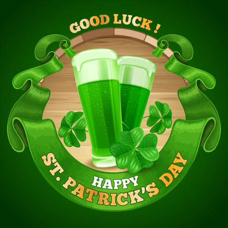 irish beer label: Saint Patricks Day Card Design with Goblets of Green Beer, Shamrock, and Rounded Vintage Green Ribbon. Vector Illustration. There is Space For Your Text.