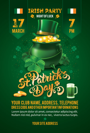Saint Patricks Day Invitation Card Design with Treasure of Leprechaun, Green Top Hat and Shamrock on Blurred Green Background. Calligraphic Lettering Inscription Happy St Patricks Day. Vector Illustration. Vettoriali