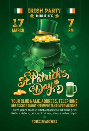 Saint Patricks Day uitnodigingskaart Design met Schat van Kabouter, Green Top Hat en klaver op groene achtergrond wazig. Kalligrafische letters Inschrijving Gelukkige St Patricks Day. Vector Illustratie.