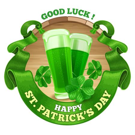 vasos de cerveza: Día de San Patricio Diseño Emblema con Copas de cerveza verde, trébol, y la cinta verde de la vendimia redondeado. Ilustración del vector. Hay espacio para el texto. Vectores
