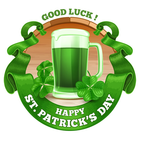 pint: Saint Patricks Day Emblem Design with Pint of Green Beer, Shamrock, and Rounded Vintage Green Ribbon. Vector Illustration. There is Space For Your Text.