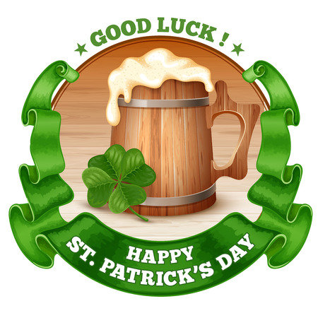 saint patricks day: Saint Patricks Day Emblem Design with Wooden Mug of Beer, Shamrock, and Rounded Vintage Green Ribbon. Vector Illustration. There is Space For Your Text. Illustration