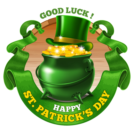 saint patrick's day: Saint Patricks Day Emblem Design with Leprechaun Treasure Pot Full of Golden Coins, Top Hat, and Rounded Vintage Green Ribbon. Vector Illustration. There is Space For Your Text.
