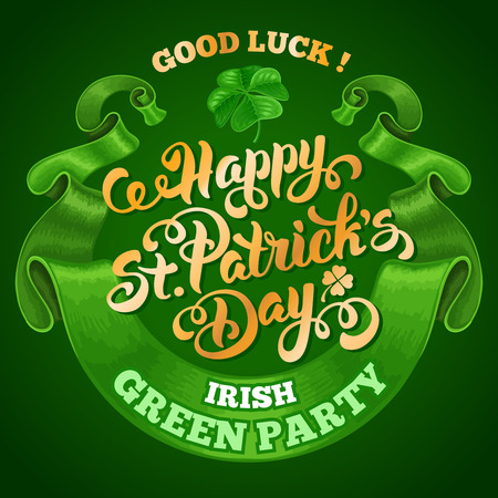 saint patricks day: Saint Patricks Day Emblem Design with Calligraphic Lettering Text Happy St Patricks Day, and Rounded Vintage Green Ribbon on Dark Green Background. Vector Illustration. There is Space For Your Text.