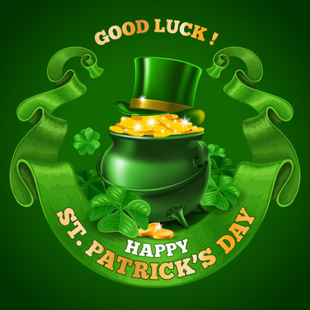 treasure: Saint Patricks Day Emblem Design with Leprechaun Treasure Pot Full of Golden Coins, Top Hat, and Rounded Vintage Green Ribbon on Green Background. Vector Illustration. There is Space For Your Text.