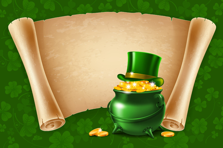 ancient paper: Saint Patricks Day Card Design with Treasure of Leprechaun, Pot Full of Golden Coins, Green Top Hat and Ancient Paper Roll on Background. Vector Illustration. There is Space For Your Text. Illustration