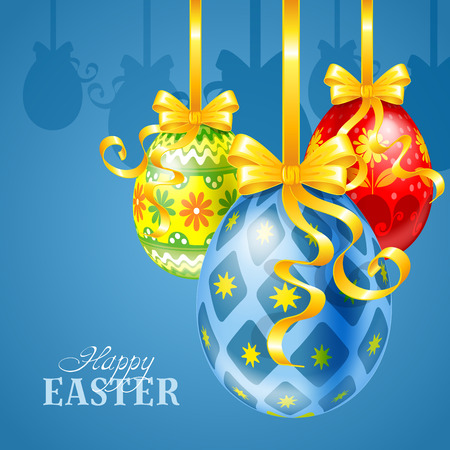 dangling: Easter festive background with painted eggs, golden bows and ribbons Illustration