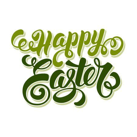 pasqua cristiana: Buona Pasqua tipografica Lettering Design. Isolato su sfondo bianco. Illustrazione vettoriale.