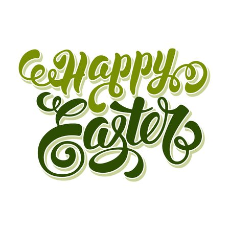 risen christ: Happy Easter Typographical Lettering Design. Isolated on White Background. Vector Illustration.