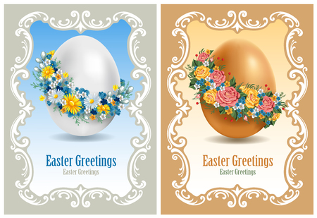 daisy wheel: Vintage Easter cards with spring flowers and egg