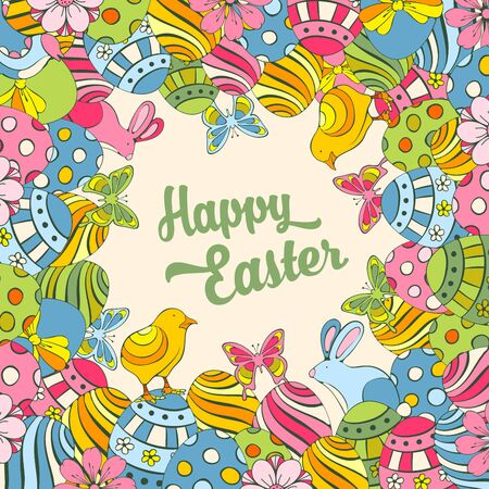 festive background: Easter festive doodle background with elements of spring holidays
