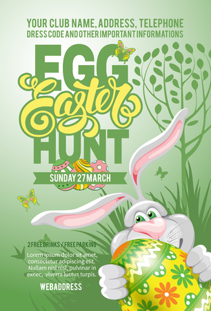 easter egg: Easter Egg Hunt Invitation Flyer Design with Cheerful Bunny, Painted Egg on Green Background. Calligraphic Lettering Inscription Easter. Vector Illustration.