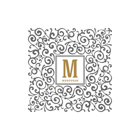 boutique hotel: Simple and elegant monogram template with letter and flourishes calligraphic ornament frame. Identity design for restaurant, cafe, shop, store, boutique, hotel, heraldic, fashion and etc. Vector illustration. Vectores