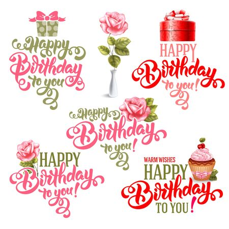 overlays: Typographic Happy Birthday Themed Calligraphic Overlays Design Vector Set. Isolated on white background.