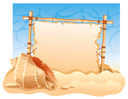 Bamboo Frame with seashell. Detailed vector picture. Vetores