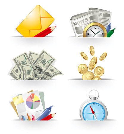 dollar coins: Business and banking icon set Illustration