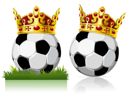 Soccer ball with a golden crown. On the grass and on the glossy background. Illustration