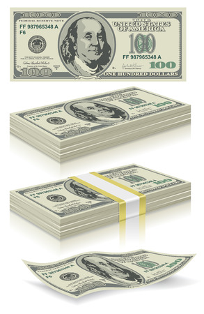 us paper currency: collection of dollar bills in the package and without, vector editable Illustration