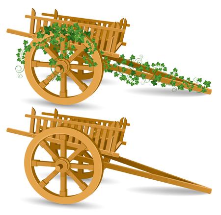 carrello d'epoca in legno, illustrazione vettoriale dettagliata
