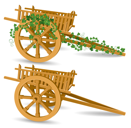 vintage houten kar, gedetailleerde vector illustratie