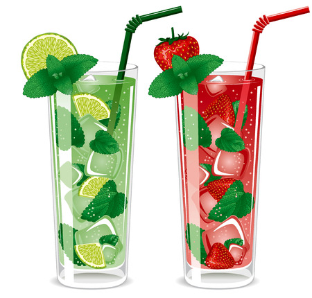 mohito: Refreshing mojito cocktails, lime and strawberry with mint Illustration
