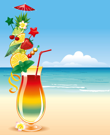 richly decorated: Tropical cocktail, in a richly decorated glass