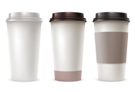 takeout: Set of Disposable Paper Cups with Plastic Covers and Sleeve to Take-out. Realistic Vector Illustration. Isolated on White Background.
