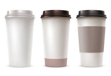 Set von Einweg-Papierbecher mit Kunststoff-Deckeln und Sleeve Take-out. Realistische Vektor-Illustration. Isoliert auf weißem Hintergrund. Vektorgrafik