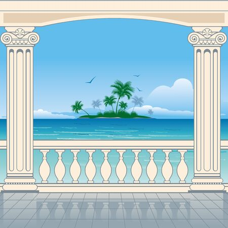 tropical border: Wonderful sea view between roman columns. Vector background. Illustration