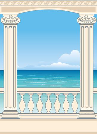roman columns: Wonderful sea view between roman columns. Vector background. Illustration